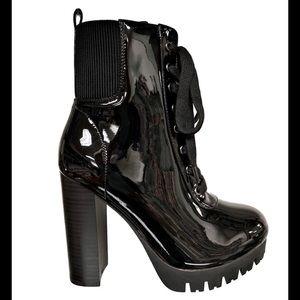 Black Shiny Combat Lace Up Boots